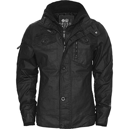 Crosshatch New Mens Full Zip Warm Jacket Padded Double Layer Button Winter Coat 1