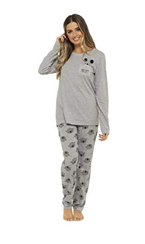 Daisy Dreamer Pyjama Set Women's Bear & Frenchie Cotton Jersey Pyjamas Lounge Wear Long Sleeve Grey PJs 3