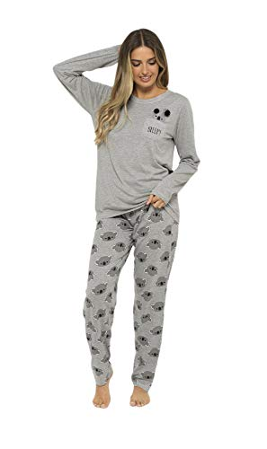 Daisy Dreamer Pyjama Set Women's Bear & Frenchie Cotton Jersey Pyjamas Lounge Wear Long Sleeve Grey PJs 4