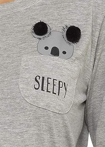 Daisy Dreamer Pyjama Set Women's Bear & Frenchie Cotton Jersey Pyjamas Lounge Wear Long Sleeve Grey PJs 5
