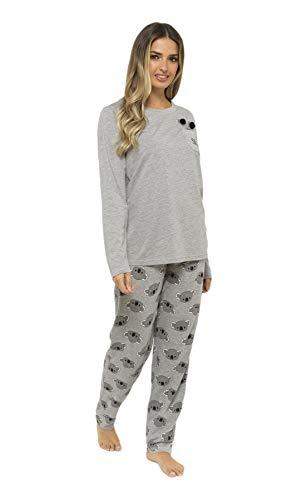 Daisy Dreamer Pyjama Set Women's Bear & Frenchie Cotton Jersey Pyjamas Lounge Wear Long Sleeve Grey PJs 6