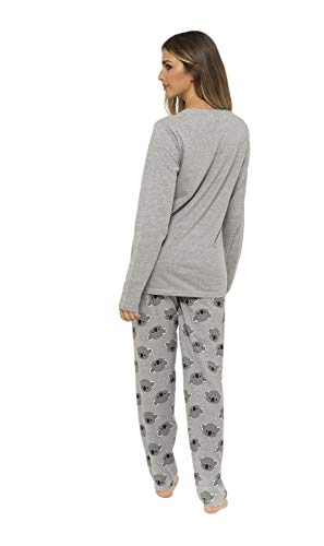 Daisy Dreamer Pyjama Set Women's Bear & Frenchie Cotton Jersey Pyjamas Lounge Wear Long Sleeve Grey PJs 7