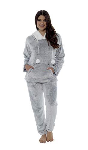 Daisy Dreamer Women's Shimmer Fleece Pyjamas, Fluffy Soft Hooded Twosie Pyjama Set, Size 8-22, LN769 4