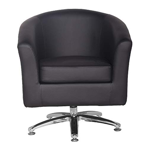 Designer Leather Swivel Tub Chair Armchair Dining Living Room Office Reception (Black) 3
