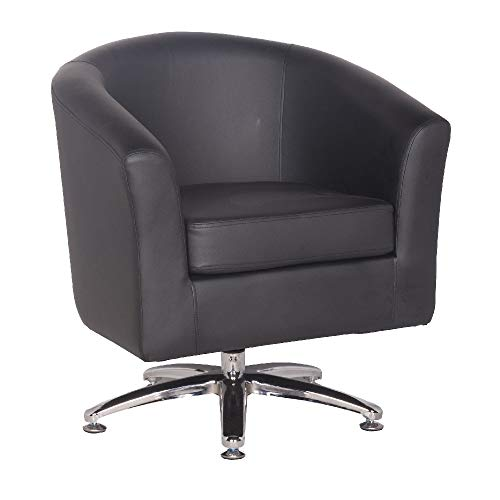 Designer Leather Swivel Tub Chair Armchair Dining Living Room Office Reception (Black) 4