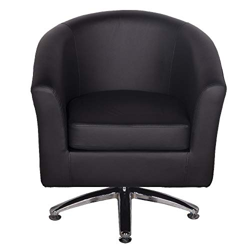 Designer Leather Swivel Tub Chair Armchair Dining Living Room Office Reception (Black) 5