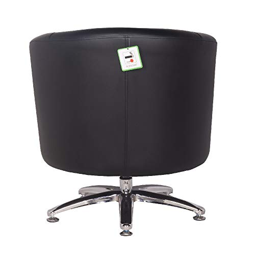 Designer Leather Swivel Tub Chair Armchair Dining Living Room Office Reception (Black) 6