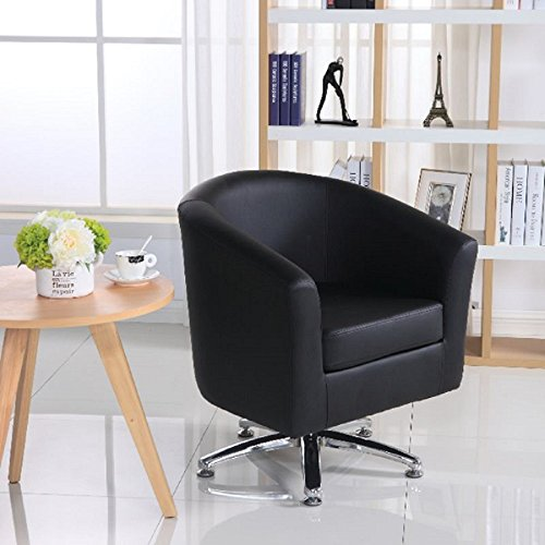 Designer Leather Swivel Tub Chair Armchair Dining Living Room Office Reception (Black) 1