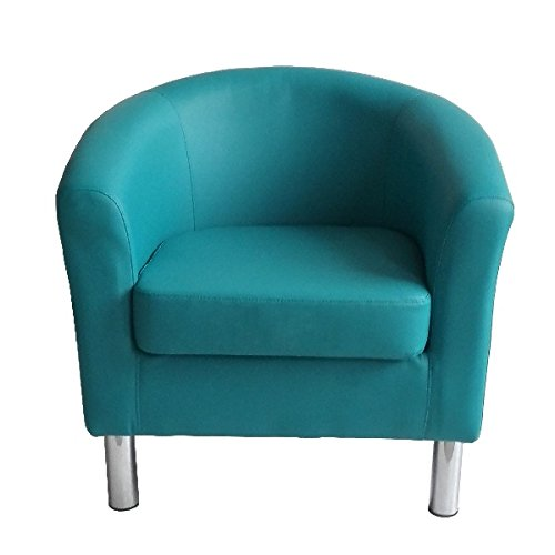 Designer Leather Tub Chair Armchair for Dining Living Room Office Reception (Aqua Blue) 3