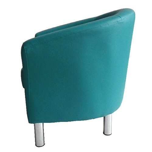 Designer Leather Tub Chair Armchair for Dining Living Room Office Reception (Aqua Blue) 4