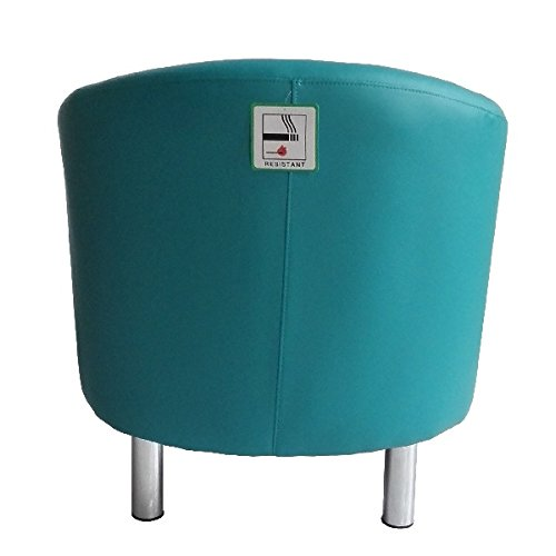 Designer Leather Tub Chair Armchair for Dining Living Room Office Reception (Aqua Blue) 5