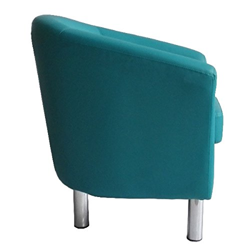 Designer Leather Tub Chair Armchair for Dining Living Room Office Reception (Aqua Blue) 6