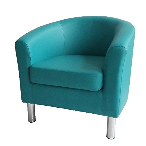 Designer Leather Tub Chair Armchair for Dining Living Room Office Reception (Aqua Blue) 7