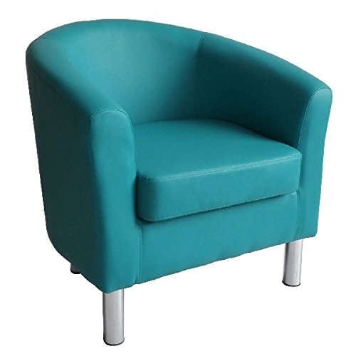 Designer Leather Tub Chair Armchair for Dining Living Room Office Reception (Aqua Blue) 1