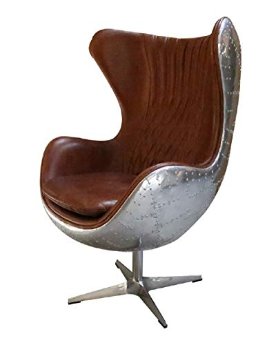 Designer Sofas4u Authentic Aviator Aviation Swivel Aluminium Vintage Tan Distressed Real Leather Armchair 3