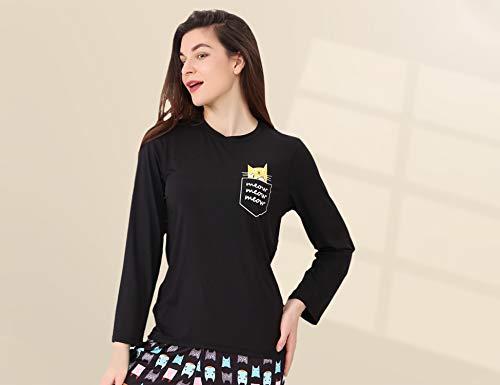 DiaryLook Ladies Pyjama Sets, 2-Piece Women Pjs Set Long Sleeve Sleepwear with Cute Print UK Size 8-28, XS-XXL 3