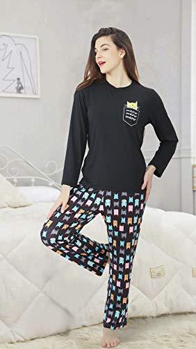 DiaryLook Ladies Pyjama Sets, 2-Piece Women Pjs Set Long Sleeve Sleepwear with Cute Print UK Size 8-28, XS-XXL 4