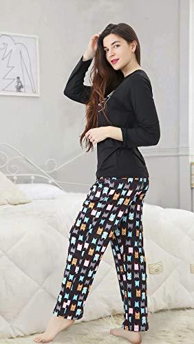 DiaryLook Ladies Pyjama Sets, 2-Piece Women Pjs Set Long Sleeve Sleepwear with Cute Print UK Size 8-28, XS-XXL 6