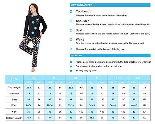 DiaryLook Ladies Pyjama Sets, 2-Piece Women Pjs Set Long Sleeve Sleepwear with Cute Print UK Size 8-28, XS-XXL 7