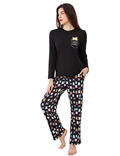 DiaryLook Ladies Pyjama Sets, 2-Piece Women Pjs Set Long Sleeve Sleepwear with Cute Print UK Size 8-28, XS-XXL 1