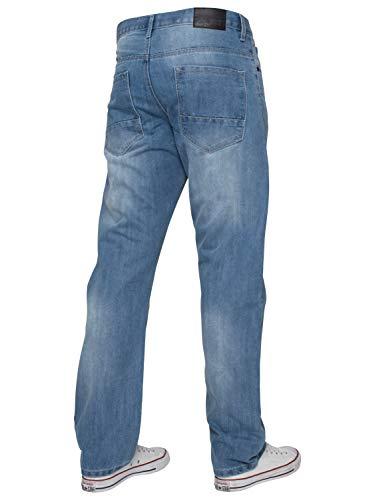 ENZO Mens Classic Straight Leg Regular Fit Indigo Wash & Mid Stone Wash Denim Jeans 3