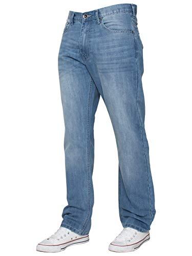 ENZO Mens Classic Straight Leg Regular Fit Indigo Wash & Mid Stone Wash Denim Jeans 4