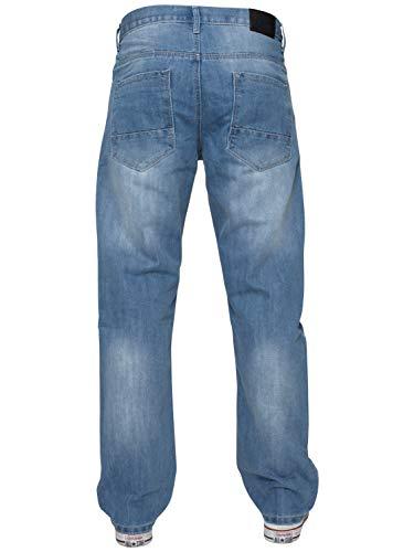 ENZO Mens Classic Straight Leg Regular Fit Indigo Wash & Mid Stone Wash Denim Jeans 5