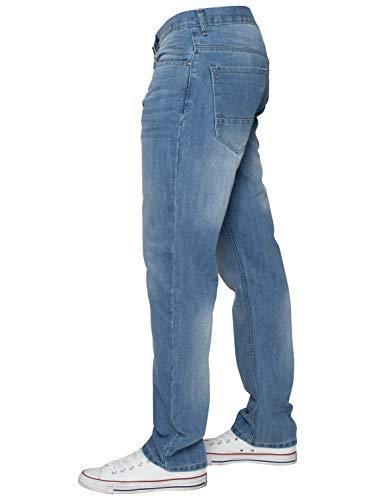 ENZO Mens Classic Straight Leg Regular Fit Indigo Wash & Mid Stone Wash Denim Jeans 6