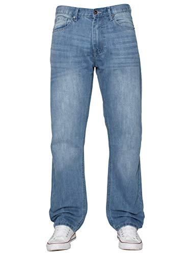 ENZO Mens Classic Straight Leg Regular Fit Indigo Wash & Mid Stone Wash Denim Jeans 2