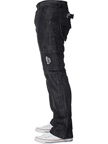 ENZO Mens Designer Cargo Combat Jeans Denim Pants All Waist Sizes 3