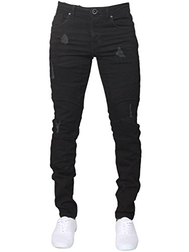ENZO Mens Designer Stretch Skinny Fit Biker Denim Jeans Pants All Waist Sizes 1
