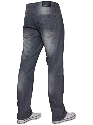 ENZO Mens Regular Fit Straight Fit Denim Blue Jeans Pants All Waist Leg Sizes 6