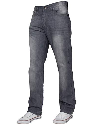 ENZO Mens Regular Fit Straight Fit Denim Blue Jeans Pants All Waist Leg Sizes 2