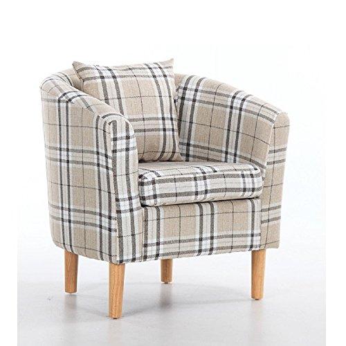 Edinburgh Tartan Fabric Tub Chair Armchair Dining Living Room Office Reception Cream 3