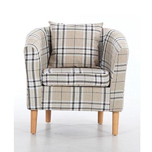 Edinburgh Tartan Fabric Tub Chair Armchair Dining Living Room Office Reception Cream 4