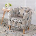 Edinburgh Tartan Fabric Tub Chair Armchair Dining Living Room Office Reception Cream 11