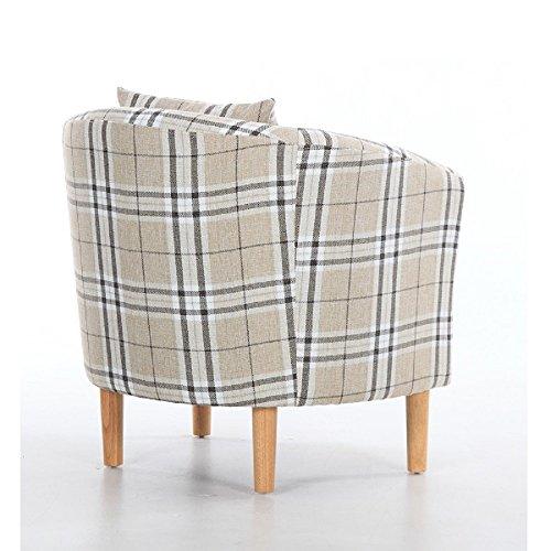 Edinburgh Tartan Fabric Tub Chair Armchair Dining Living Room Office Reception Cream 5