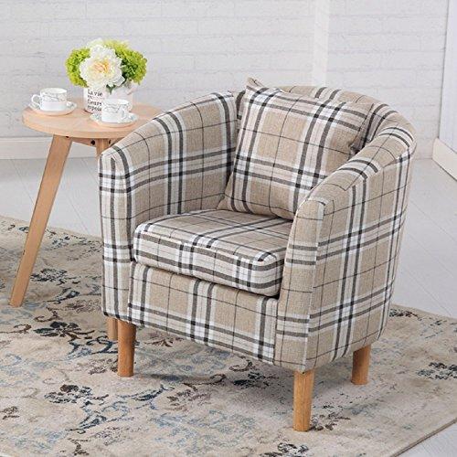 Edinburgh Tartan Fabric Tub Chair Armchair Dining Living Room Office Reception Cream 1