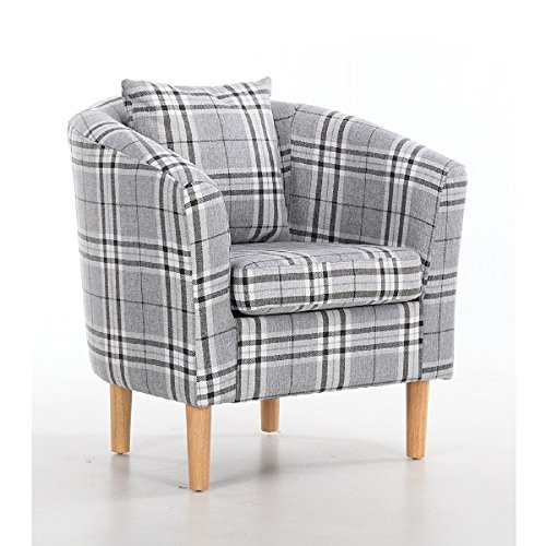 Edinburgh Tartan Fabric Tub Chair Armchair Dining Living Room Office Reception Grey 3