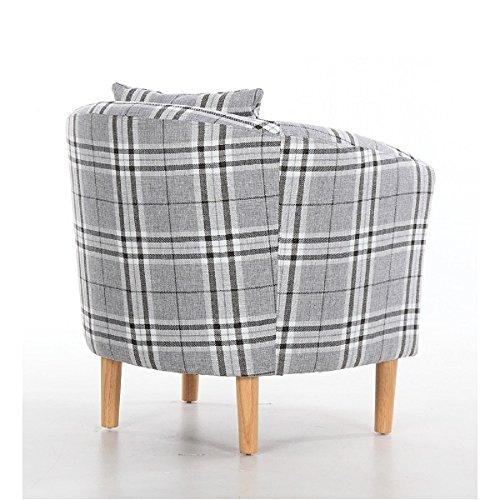 Edinburgh Tartan Fabric Tub Chair Armchair Dining Living Room Office Reception Grey 4