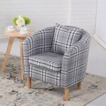 Edinburgh Tartan Fabric Tub Chair Armchair Dining Living Room Office Reception Grey 11