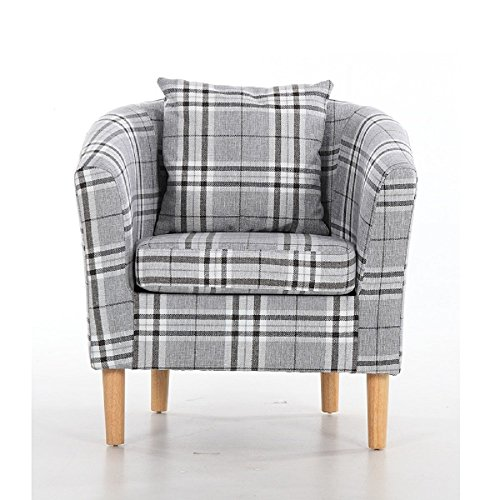 Edinburgh Tartan Fabric Tub Chair Armchair Dining Living Room Office Reception Grey 5