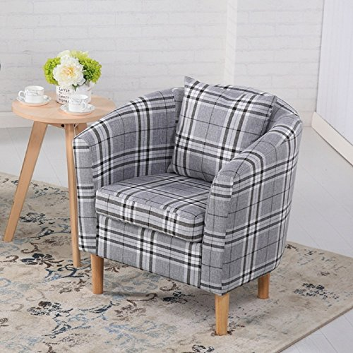 Edinburgh Tartan Fabric Tub Chair Armchair Dining Living Room Office Reception Grey 1