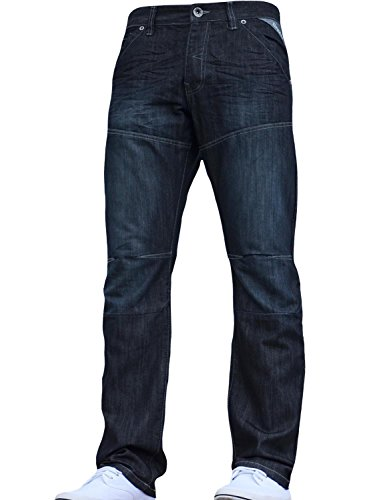 Enzo BNWT New Mens Jeans Blue Designer Branded Straight Washed All Waist & Sizes 3