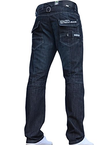Enzo BNWT New Mens Jeans Blue Designer Branded Straight Washed All Waist & Sizes 1