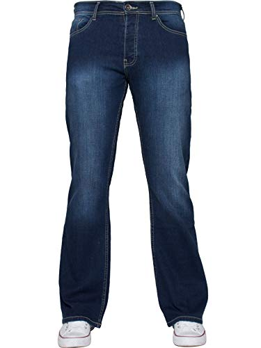 Enzo Mens Bootcut Wide Leg Jeans Stretch Bell Flared Denim Pants All Waist Sizes 4