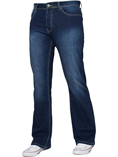 Enzo Mens Bootcut Wide Leg Jeans Stretch Bell Flared Denim Pants All Waist Sizes 1