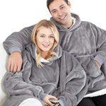 Eskimo Oversized Sherpa Hoodie Sweatshirt Blanket - Warm and Cozy - Reversible with Pockets Grey 20