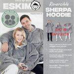 Eskimo Oversized Sherpa Hoodie Sweatshirt Blanket - Warm and Cozy - Reversible with Pockets Grey 21
