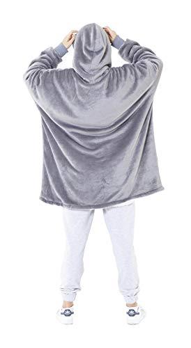 Eskimo Oversized Sherpa Hoodie Sweatshirt Blanket - Warm and Cozy - Reversible with Pockets Grey 5